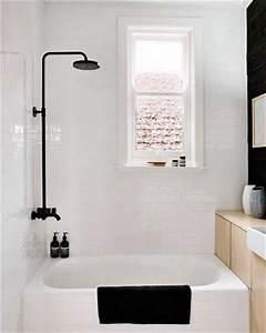 du noir et blanc en couleur pour une petite salle de bain With petit carrelage salle de bain