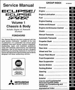 1997 Mitsubishi Eclipse  Eclipse Spyder Repair Shop Manual
