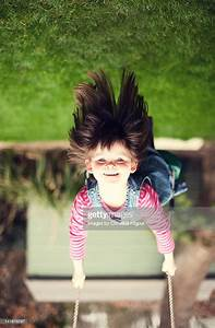 Young, Girl, Upside, Down, On, Swing, Stock, Photo