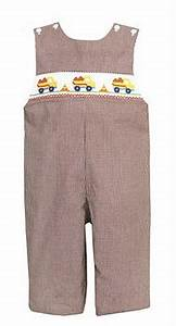 Petit Bebe Boys 39 Brown Check Longall With Smocked Trucks