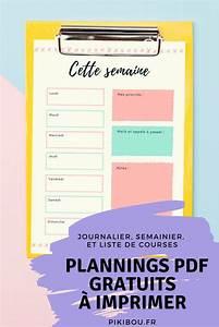 Liste De Courses À Imprimer Gratuitement : planning journalier semainier et liste de course ~ Nature-et-papiers.com Idées de Décoration
