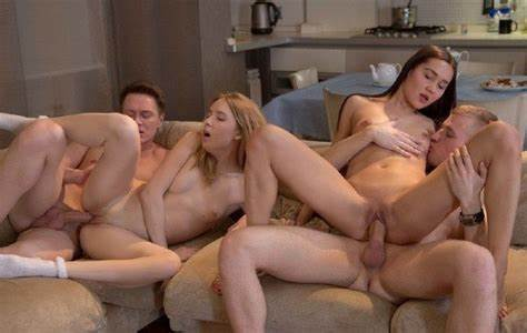 Couch Couple Party Swingers Vaginal Bed Threesomes Swingers Group Closeup