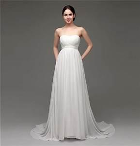 Elegant strapless empire waist chiffon beach wedding dress for Chiffon wedding dress empire waist
