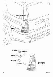 Toyota 4runner Tail Light  Right  Rear   Lens And Body
