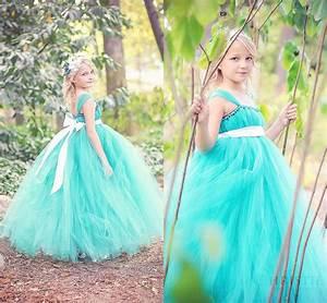 71 Nova Lights Beautiful Little Girls Cap Sleeves Teal Tulle Floor Length