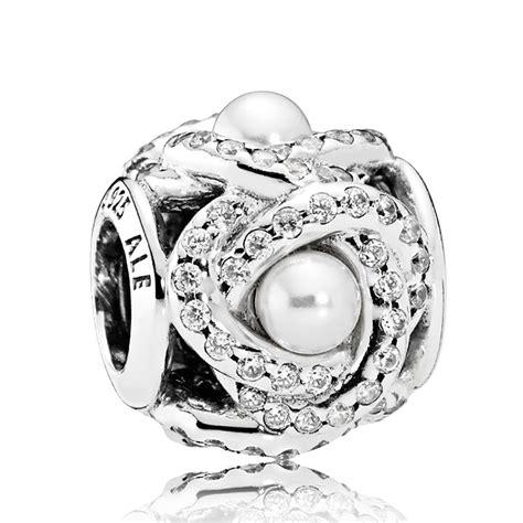 PANDORA Luminous Love Knot Crystal Pearl & CZ Charm ...