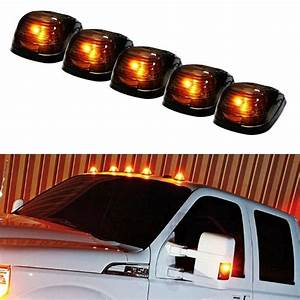 5  Black Smoked Cab Roof Marker Running Lamps W   Amber