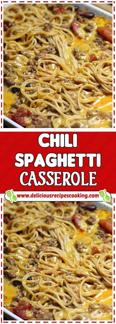 Everybody understands the stuggle of getting dinner on the table after a long day. CHILI SPAGHETTI CASSEROLE Via #deliciousrecipescookingcom #easydinner #cooking #recipe # ...