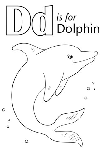 Letter D is for Dolphin coloring page from Letter D