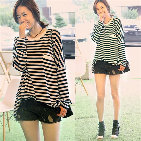 Fashion plus size clothing for fat girl woman summer loose stripe long sleeve length 100% cotton ...