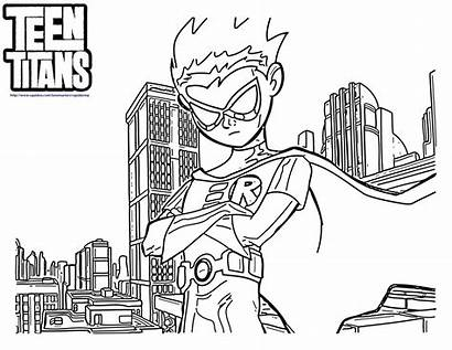 Titans Coloring Teen Pages Robin Cartoon Colouring