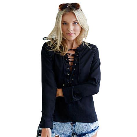 up blouse pics aliexpress com buy lace up black blouse white button top