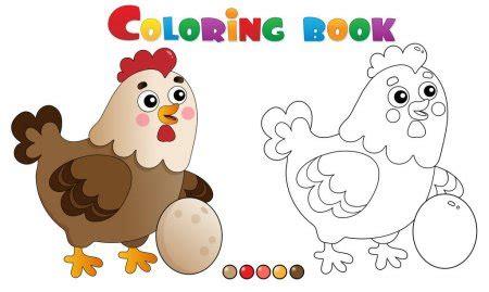 Coloring book happy hen Archivo Imágenes Vectoriales