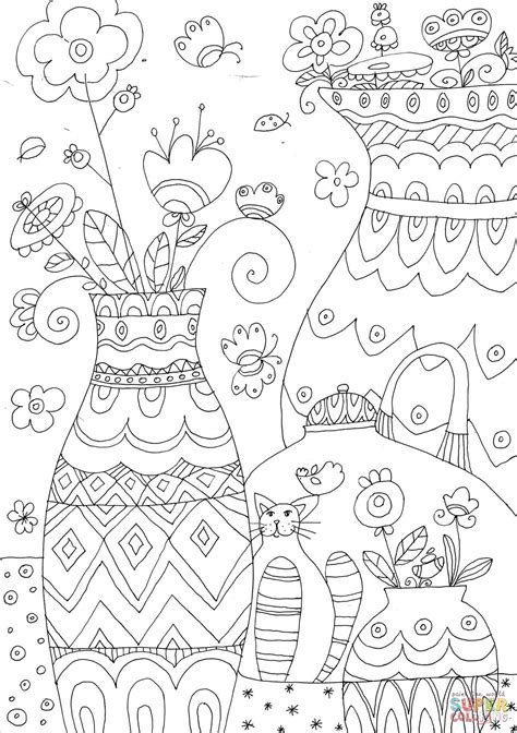 Flower Vases coloring page Free Printable Coloring Pages