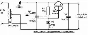 Electronic Hobby Circuits  9 Volts Dc Power Supply Circuit