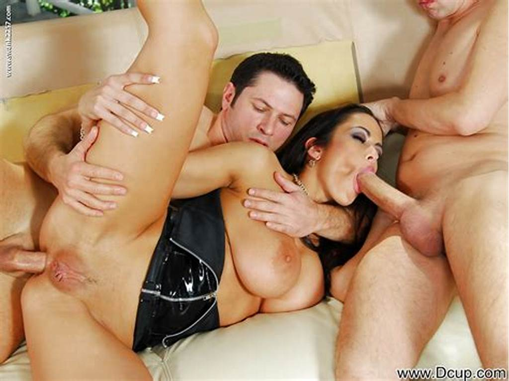 #Gorgeous #Milf #With #Big #Tits #Fucks #Two #Huge #Dicks #In