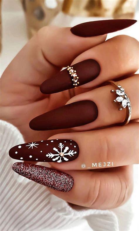Jumper nail art, snowflakes nail art, crystals application, red chrome nails. 25+ Christmas Nails 2020 : Dark Red Christmas Nails