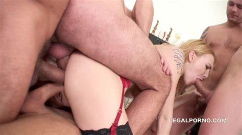 Blond Tranny In Gang With Passionate Orgy