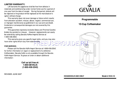 Coffee that is too strong or too weak is always a disappointment. User's Manual for Coffee Makers Gevalia Programmable 12-Cup Coffeemaker XCC-12, download free