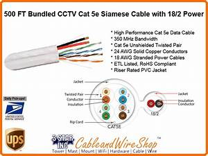 Bundled Cable Siamese Cctv Cat5e With 18awg  2c Power Cord