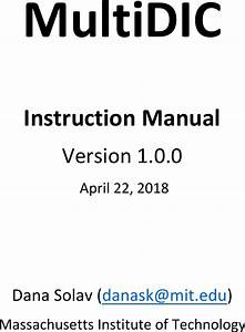 Multi Dic Instruction Manual