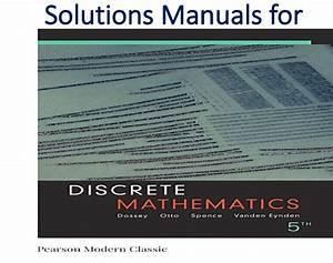 Solutions Manual For Discrete Mathematics 5th Edition
