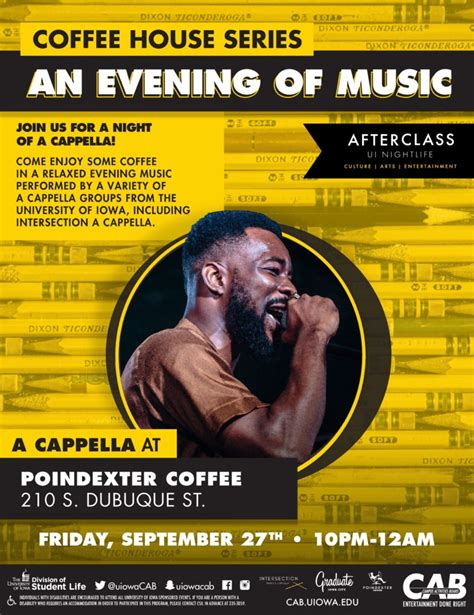 Join our iowa city team. An Evening of Music: Acapella @ Poindexter Coffee   Iowa City Downtown District