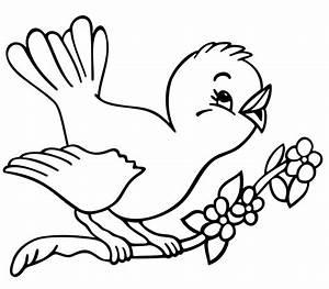 Cute Bird Clipart Black And White - ClipartXtras