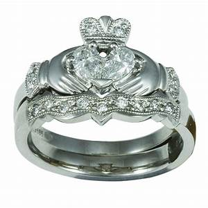 14k white gold claddagh diamond engagement ring wedding With claddagh engagement ring with wedding band