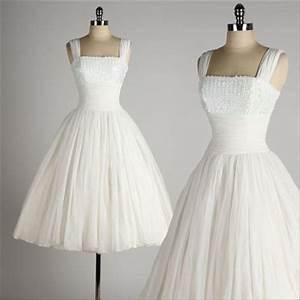 Vintage 1950 style wedding dresses ball gown tea length for Patron de robe de mariée