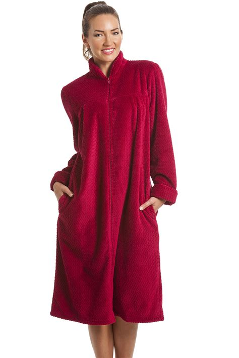 robe de chambre chaude femme fleece berry zip front house coat
