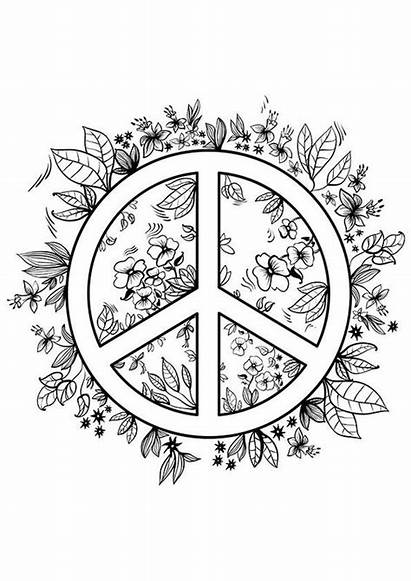 Coloring Peace Pages Printable Teens Adult Sign