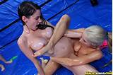 Micro bikini women oil wrestling