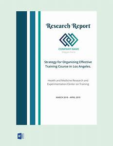 Research Report Cover Page Template