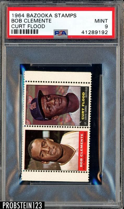 That is to say, for the second year in a row, topps offered baseball card enthusiasts the chance to get their hands on all 660 cards in one fell. 1964 Bazooka Stamps Bob Roberto Clemente Curt Flood PSA 9 HIGHEST GRADED | Roberto clemente ...