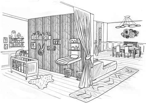 dessin de chambre 1 chambre bébé dans un salon laetitia desmond