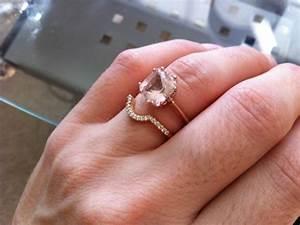 Morganite engagement ring and wedding band weddingbee for Wedding band under engagement ring