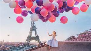 Girl, With, Lots, Of, Balloons, Sitting, On, The, Wall, With, Background, Of, Eiffel, Tower, Paris, 4k, 8k, Hd