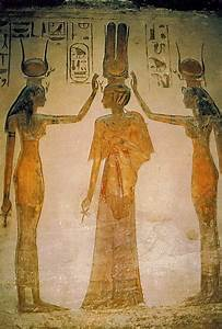 Painting inside the Queens Temple of Abu Simbel of the ...