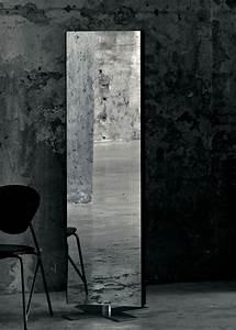 Miroir à Poser Au Sol : miroir sur pied giano poser au sol l 50 x h 180 cm laqu noir glas italia made in design ~ Teatrodelosmanantiales.com Idées de Décoration