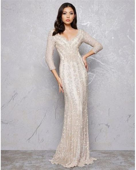 Mac duggal plunge neck pleated gown. Lyst - Mac Duggal 4247d Plunging V-neck Beaded Sheath Gown ...