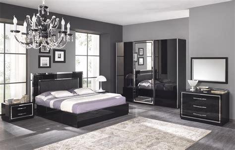 magasin de chambre a coucher adulte chambre adulte complète design stef coloris noir laqué