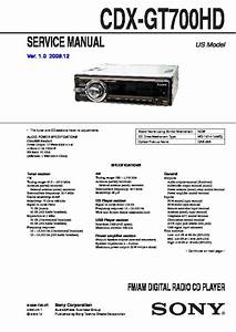 Sony Cdx-gt700hd Service Manual