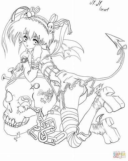 Coloring Anime Pages Demon Naked Printable Adult
