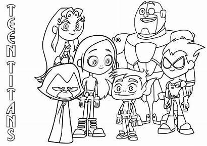 Titans Coloring Teen Cartoon Teentitans