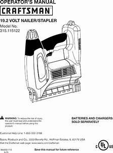 Craftsman 315115122 User Manual Nailer Manuals And Guides
