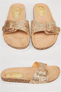Gold Glitter Cork Effect Sandals In EEE Fit