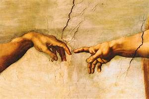The Creation of Adam Michelangelo oil painting repro hand ...