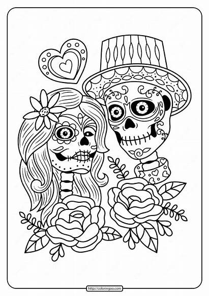 Coloring Dead Printable Couple Sheets Adult Skull