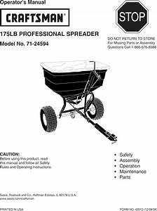 Craftsman 48624594 User Manual Spreader Manuals And Guides